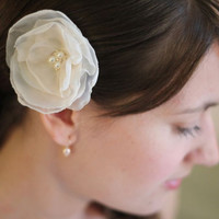 Ivory Flower Pin with Chiffon and Cream Pearls -  Bridal Hair Piece  - Bridesmaids Gift
