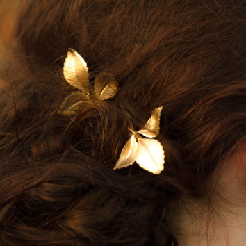 Gold  Leaf Hair Pins Leaf Bobby Pins Pretty Woodland Fall Hair Accessory Gold Leaf Hair Clip Bridal Hair Pins
