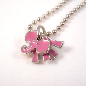 Pink Elephant Necklace Fun Tween Jewelry Cute Necklace