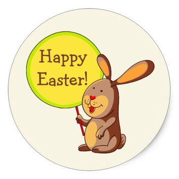 Amber Brown Bunny Holding Board Round Sticker