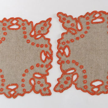 2 Polish Square Richelieu Linen Traycloths Doily Vintage Crochet Dresser Scarf cutwork embroidery, Polish linen Wedding richelieu embroidery