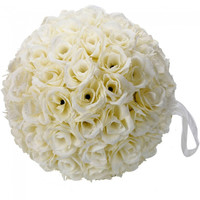 New 9.84 inch Wedding Decor Romantic Super Flower Kissing Ball Ivory - Default