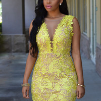 Yellow V-Neck Mesh Insert Lace Mini Dress