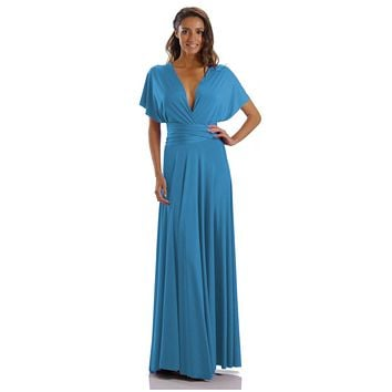 Long Teal Convertible Jersey Dress 20 Different Looks
