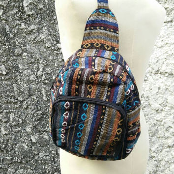 Crossbody bag shoulder bags bicycle cycle boho tribal Style Pouch Travel Ethnic Ikat Pattern Hippies Gypsy Bohemian Festival unisex in brown