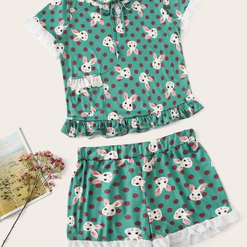 Plus Cartoon Print Ruffle Pajama Set