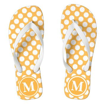 Orange Polka Dot Monogrammed Flip Flops