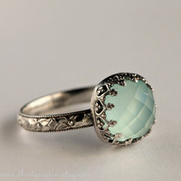 Aqua Chalcedony Cocktail Ring in Sterling Silver