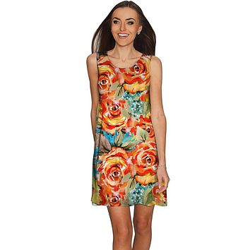 Fox Sanibel Empire Waist Yellow Flower Print Dress - Women