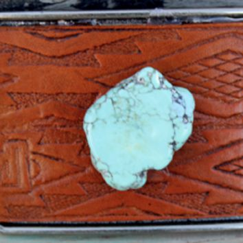 Women's Broken Arrow Turquoise and Leather Belt Buckle