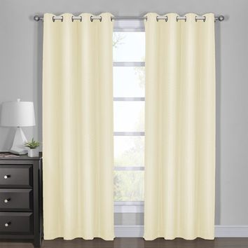 IVORY 108x108 100% Blackout Curtain - Diamond Jacquard Woven Drape Theme (Set of 2)