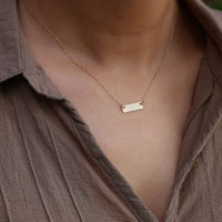 Mini Personalized name/initial bar necklace -Customized gold or silver name/initial plate necklace