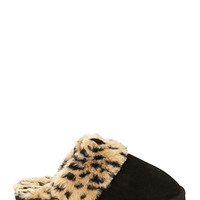 FOREVER 21 Cheetah Print Faux Fur Slippers Black/Tan