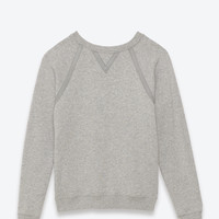 Classic Crewneck Sweatshirt in Grey French Terrycloth and Grosgrain
