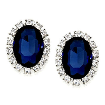 Chic Navy Blue Clear Austrian Crystal Vintage Vibe Silver Clip on Stud Earrings Drag Queen Show Jewelry