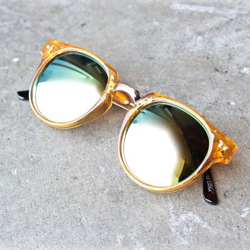 spitfire teddy boy 2 round sunglasses in yellow + gold mirror