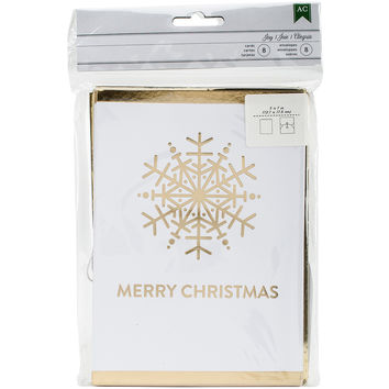 American Crafts Cards W/Envelopes 5X7 8/Pkg-Snowflake W/Gold Foil