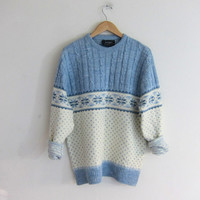 vintage boyfriend sweater. cable knit pullover snowflake ski sweater. size L