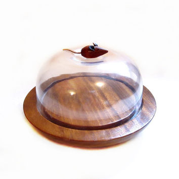 Mouse Cheese Block, Teak Wood Tray / Dome