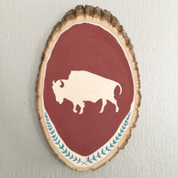 Wood Wall Art, Buffalo Bison Silhouette Painting on Bass Wood Slice, Wood Wall Decor, Wood Wall Hanging