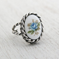 Vintage Blue Flower Ring - Retro Signed Sarah Coventry 1970s Stone Silver Tone Adjustable Costume Jewelry / Blue Rose Porcelain