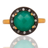18K Gold Over Sterling Silver Green Onyx Gemstone Prong Setting Ring With CZ