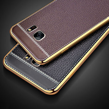 TPU Soft Plating edge Leather Back Cover For Samsung Galaxy S7 S6 Edge A3 A5 A7 2016 2017 J3 J5 J7 Prime 2016  Grand Prime Case