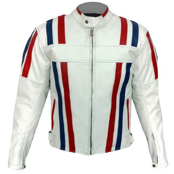 White Biker Racing Leather Jacket