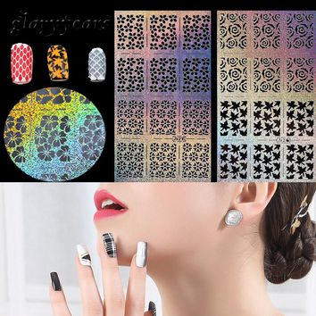 1 Sheet Nail Sticker Stencil Airbrush Glitter Template Dot Flower Design Sexy Women Nail Art Manicures Tool Stencil Nail Sticker