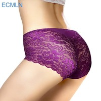 Women underwear briefs sexy women's Panties full transparent lace seamless string plus size women underwear XK