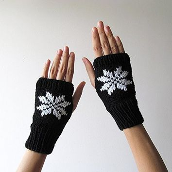Hand Knit Fingerless Gloves in Black - Embroidered Snowflake - Seamless Knit Gloves - Wool Blend