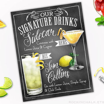 Wedding Decoration | Signature Drink Sign - DUAL DRINKS - Personalized  Weddings, Parties, Events - Made to Order - All Custom
