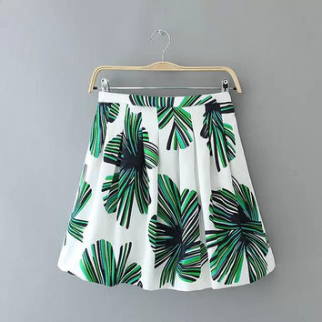 Summer Leaf Pattern Printed Skirt