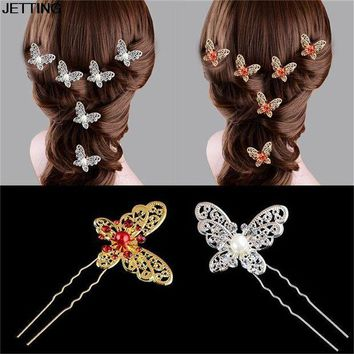 ESBONIS Elegant 1Pcs Butterfly Shaped Hair Pin Bride Rhinestone Wedding Dress Costume Headdress White Red Colors Hairpins