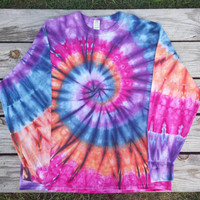 2XL Pink Purple Orange and Blue Tie Dye Shirt,  Adult Long Sleeve Tie Dye T-Shirt,  Hippie, Festival, Ready to Ship