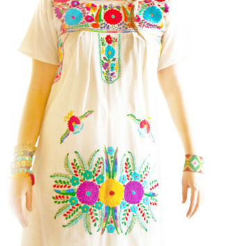 Nature lover Mexican embroidered dress pure cotton