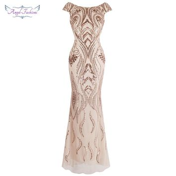 Angel-fashions Cap Sleeve Bateau V Back Vintage Sequin Mermaid Long Evening Dress Light Coral 378
