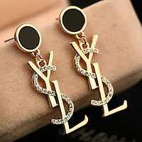YSL fashion temperament earrings with big brand cute letter tassel and long style personality earrings