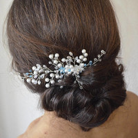 Wedding hair comb, Pearl hair comb, Something Blue, Blue Headpiece, Crystal & Pearl Hair Comb, bridal hair comb, floral hair comb, blue comb
