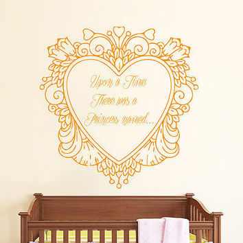 Cinderella Wall Decal Cartoon Quotes Sticker Girl Nursery Kids Room Decor DS397