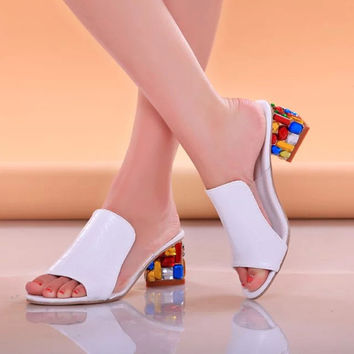 Rhinestone White Peep Toe Sandals / Shoes - 50% Off