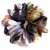 Multi Bright Flowers Scrunchies for Hair Large Chiffon Designer Accessories Elastic Hair Ties Headband Ponytail Holder