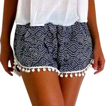 Polka Dot High Waist Tassel Shorts