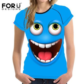 FORUDESIGNS Funny Smiling Emoji Face Women Casual Summer T Shirt Best Friend Elastic Breathable Girls Tee Tops Roupa Feminina