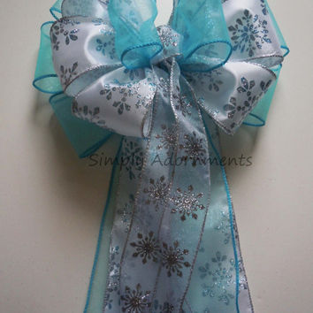 White Blue Snowflakes Disney's Frozen Birthday Party Decoration Wedding Pew Bow Shower Bow Gifts Basket Bow