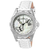 INVICTA Angel Womens 28 Crystal Butterfly Watch - Stainless - White Leather