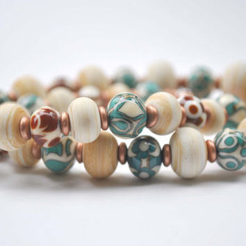 Teal Copper Necklace, Artisan Lampwork, Cream Glass Beaded Necklace