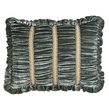 "Ruched Velvet Boudoir Pillow with Braid Accents & Ruffle Edge, 12"" x 16"" - Dian Austin Couture Home"