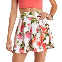 High-Waisted Floral Print Skater Skirt - White Combo