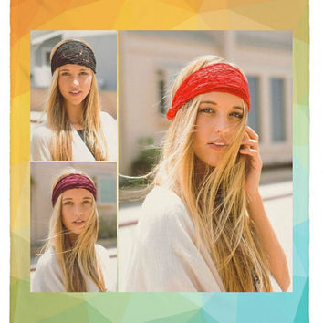 Women's Boho Floral Wide Lace Headband with Stretchy back